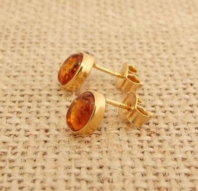 Cognac Baltic Amber 925 Sterling Silver 14K Gold Rose Overlay Oval Stud Earrings