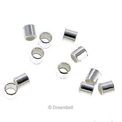 100x  Sterling Silver 2x2mm CRIMP BEAD 2x2 mm Seamless Tube 2mm