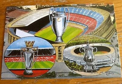 Football Postcard Manchester United In European Cup