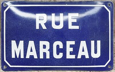 Old blue French enamel steel street sign plate road name plaque Marceau Burgundy