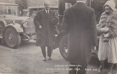 Rare 1929 Real Photo Postcard Arrival At Hospital Royal Visit To Rugby 1929 30*