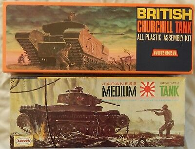 Aurora 1:48 Bausätze Japanese Medium Tank + British Churchill Tank komplett+OVP