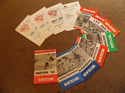 Collection Of 12 1960s Wigan & Leigh Rugby League Programmes, Listed.