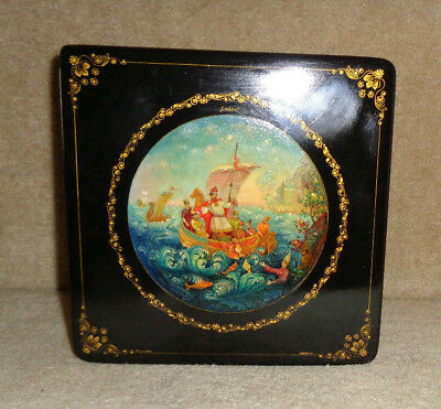 Superb Vintage 1960's Soviet Russian Hand Painted Lacquer Box Artist Signed