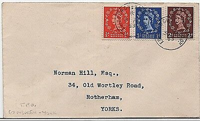 QEII 1953 ½d, 1d, 2d (sg515/16, 518) T.P.O First Day Cover