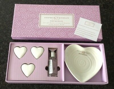 Sophie Conran For Portmeirion 3 Scented Hearts With Dish White New Boxed