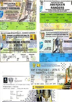 Tickets - 6 Scottish Cup Final Tickets 2000, 2001,2002, 2004, 2006 & 2013 Listed