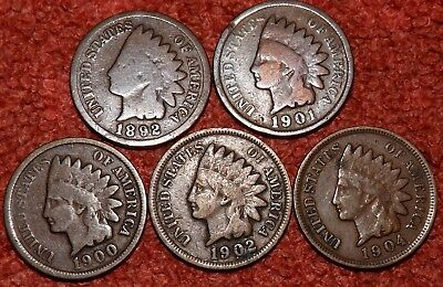 1882,1900,1901,1902,1904 USA Indian Head Cents -- Mixed Grades & Detail