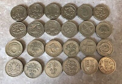 Full Set of 24 (all 24 designs) Round £1 One Pound Coins 1983-2015 Cities.Floral