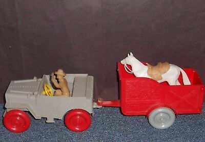 Ideal Toys Roy Rogers Nellybelle Jeep, Trailer ,trigger And Figure Lot