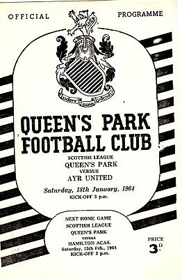 Queens Park v Ayr United Scottish League 18th January 1964