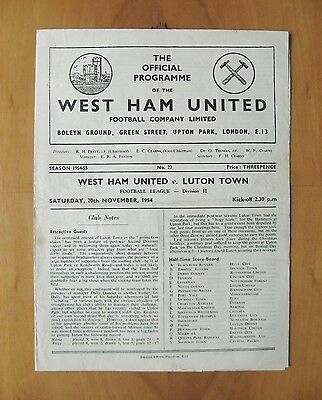 WEST HAM UNITED v LUTON TOWN 1954/1955 *Good Condition Football Programme*