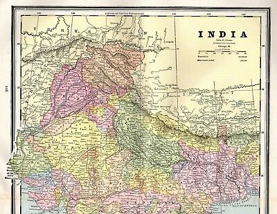 1890 Antique INDIA Map Vintage Map of India Gallery Wall Art #4203