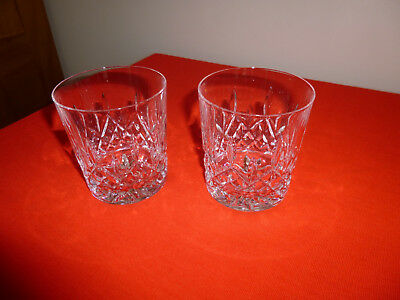 2  X Galway Irish Crystal ~  Longford ~ Whiskey Glasses ~ Etched ~ Excellent