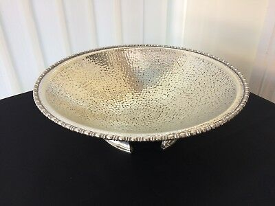 vintage academy silver plated large four footed fruit bowl / centre piece