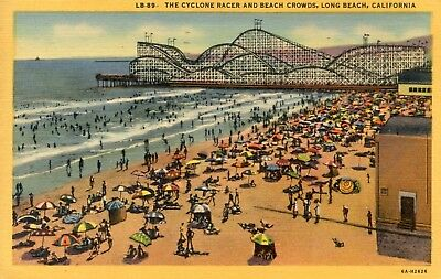 "Roller Coaster, 1955 linen postcard, Long Beach CA, ""The Cyclone Racer & crowds"""