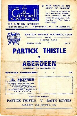 Partick Thistle v Aberdeen Scottish League Division A 9th January 1954