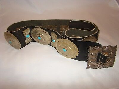 Beautiful Vtg Navajo Turquoise Concho Belt Sterling Silver Buckle &16 Conches