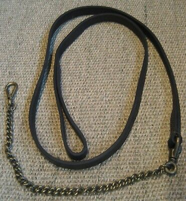 Vintage Equestrian or Farm Animal Leather Lead Rein & Solid Brass Chain