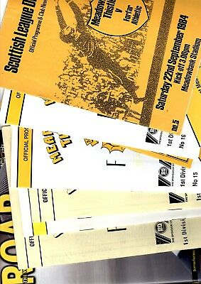 10 x Meadowbank Thistle/Livingston Programmes from 1981 - 2007 Listed 34