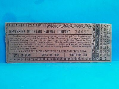 Original TICKET for NEVERSINK MOUNTAIN RAILWAY COMPANY Reading, PA - Berks Co.
