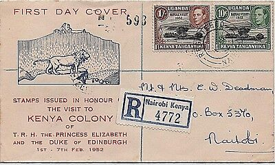 KUT 1952 'Royal Visit' Registered illustrated First Day Cover