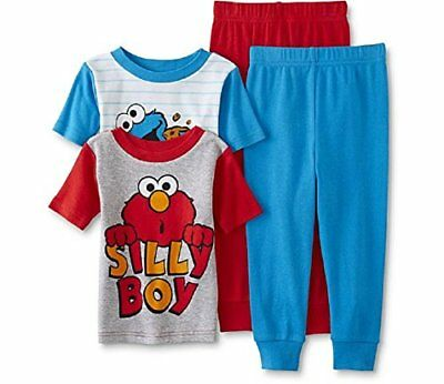 Sesame Street Toddler Pajamas, 2 pk 4 pc Set Elmo & Cookie Monster (3t)