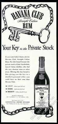 1943 Havana Club Rum bottle Your Key to Private Stock vintage print ad