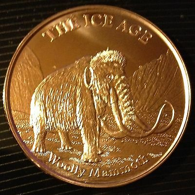 1 Oz Copper Round The Ice Age - Woolly Mammoth