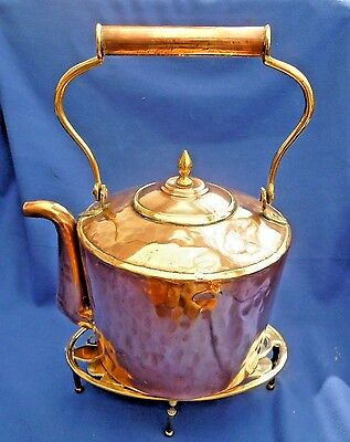 Vintage Copper Kettle ~ Brass Trivet