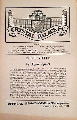 Crystal Palace v Clyde  Friendly  1956/57