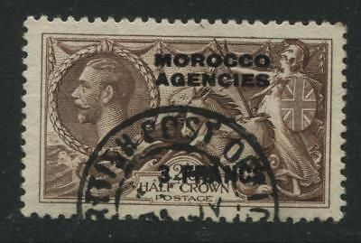 Morocco Agencies: 1935 3 francs on 2/6d Seahorse stamp SG225 Used SS040