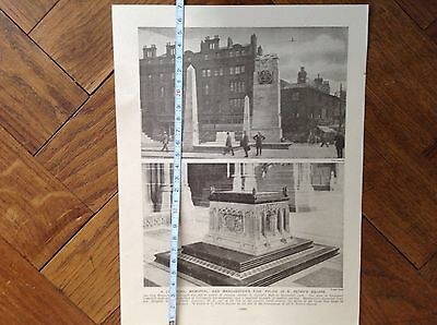 A Liverpool Memorial & Manchesters Fine Pylon S.peters Square , Old Illustration