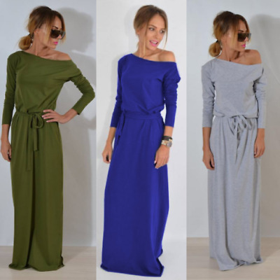 Womens Winter Bodycon Long Sleeve Dresses Evening Party Cocktail Maxi Midi Dress