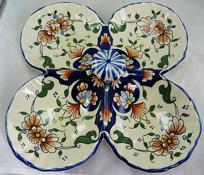 Faience Fait Main Quatrefoil Serving Platter Floral Decoration