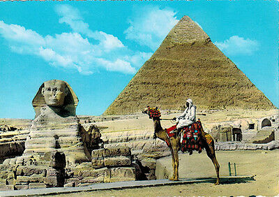 THE GREAT SPHINX & KHEFREN PYRAMID MAN ON CAMEL Vintage postcard printed taly