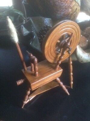 "Miniature Wood Spindle  Working Spinning Wheel 9 1/2"" Wooden Figurine Sheep Wool"