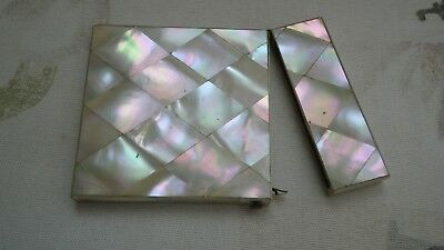 Antique Card Case..mother Of Pearl Inlay...very Nice Condition...10.5Cm X 7.7Cm