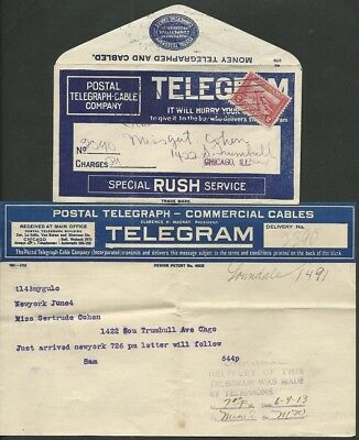 """special Rush Service"" Telegram 6/4/1913 - W/#396 & With Original Letter - Q111"