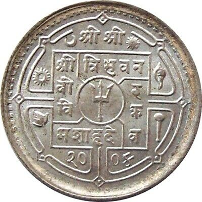 Mint Nepal 50-Paisa Silver Coin 1947 Ad King Tribhuvan Km-718 Uncirculated Unc