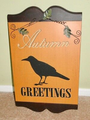 AUTUMN GREETINGS Wood Sign Plaque RAVEN Bird Crow ~Creative CoOp~ Orange Black