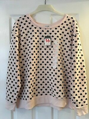 NEW Primark Size 16 Pink Heart Print Sweatshirt Jumper Top