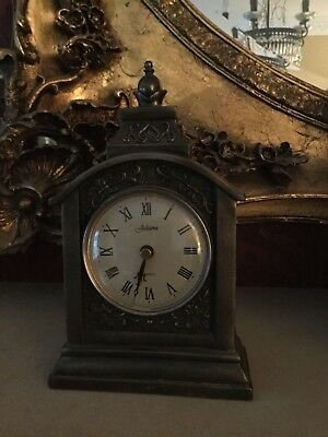 STUNNING old Antique style Gold Clock fancy heavy quality mantel carriage