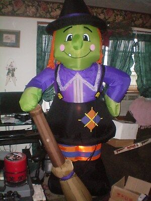Huge Gemmy 8Ft Halloween Airblown Inflatable Witch With Broom Works Great