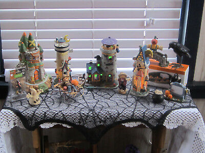 14 Pc Lot Lighted Ceramic Halloween Haunted Houses,Ghost,Pumpkin, Raven,& MORE!