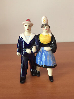 Scarce Antique Breton QUIMPER Wedding Couple Art Pottery French Faience Figurine