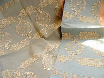 Two Stunning Antique French Lace Panels Unused Paper Backed C.1910
