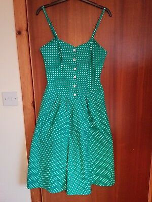 Beautiful Genuine Vintage green cotton spotted lindy bop dress, fit 12