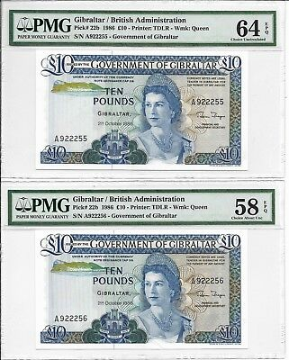 Gibraltar / British Administration - 10 pounds, 1986. 2 pcs in cont. PMG 58E/64E