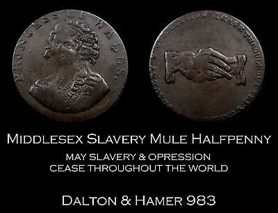 Middlesex Slavery Mule Conder Halfpenny D&H 983